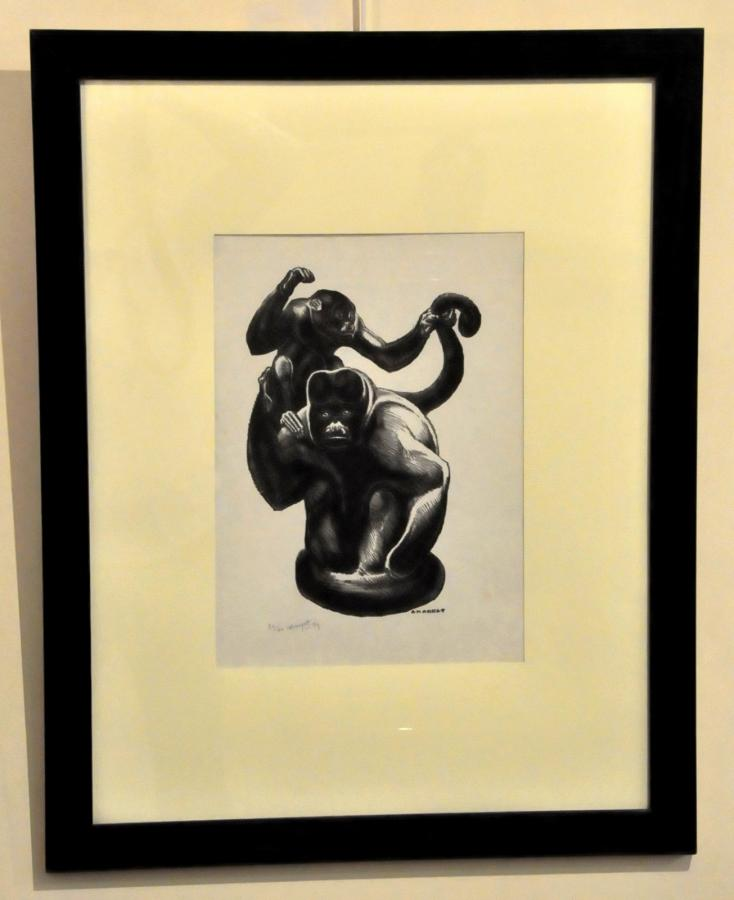 André Margat Original Lithograph 2 Monkeys On Japanese Paper 1979 , More Informations...