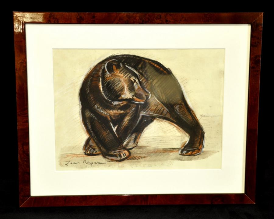 Jean Royer Bear Drawing Charcoal & Pastel , More Informations...