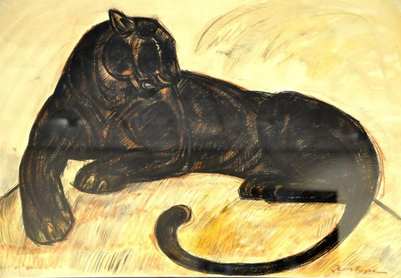jean Royer Panther Elongated Important Drawing Charcoal Pastel Watercolor Circa 1970, More Informations...