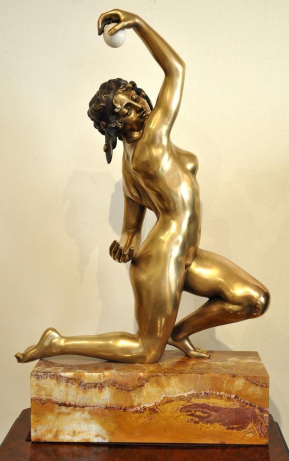 AFFORTUNATO GORY SCULPTURE BRONZE DANSEUSE NUE A LA BALLE Art Déco 1920 , Plus d'infos...