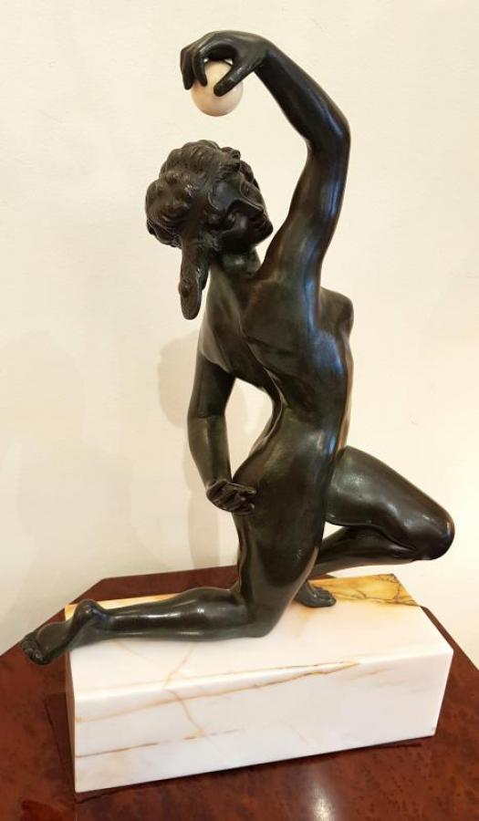 Affortunato Gory Sculpture Bronze Nude Dancer With Ball , More Informations...