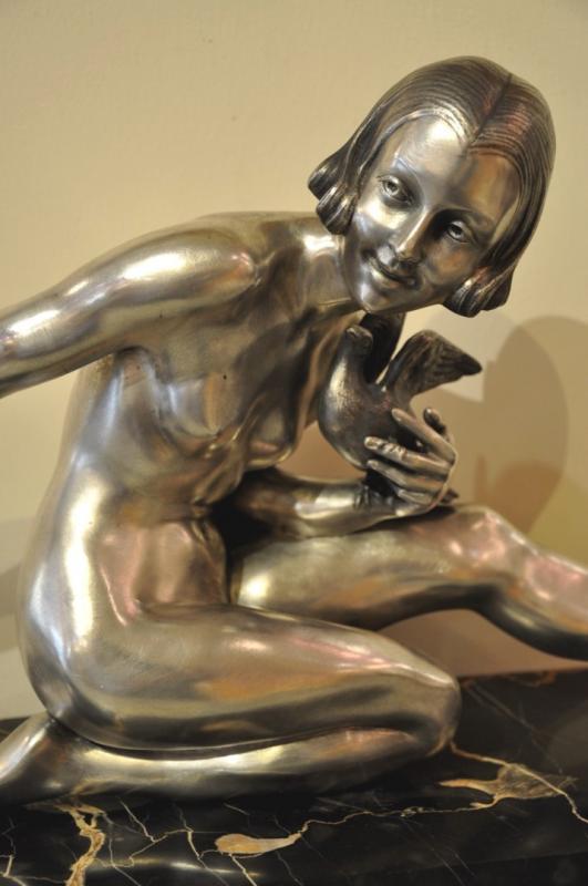 ARMAND GODARD sculpture bronze argenté Epoque ART DECO, Plus d'infos...