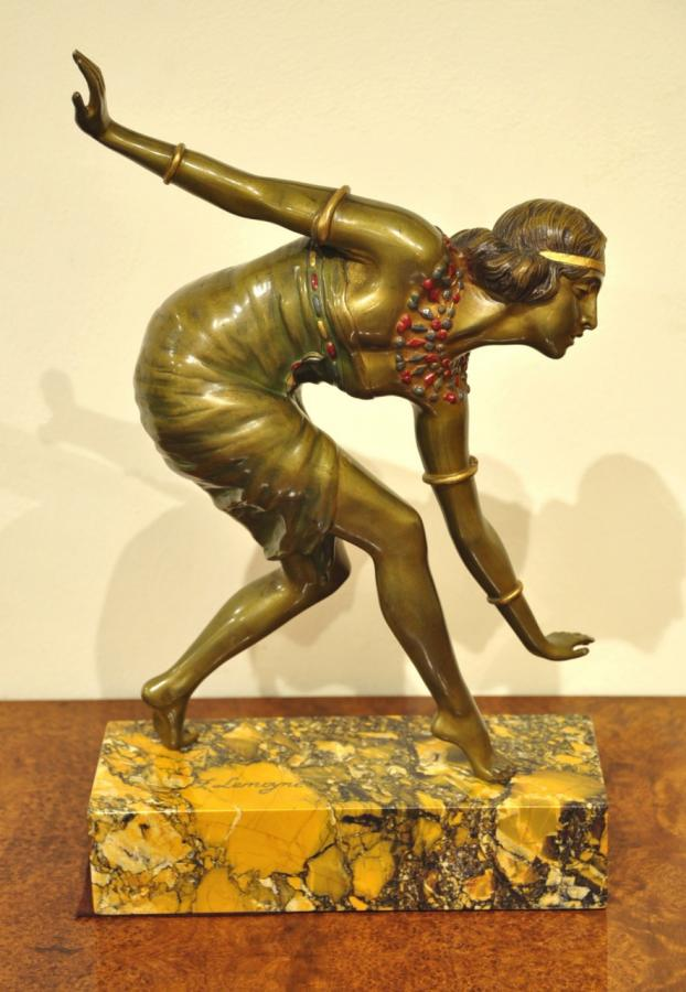 F. Lemoyne Sculpture Orientaliste Polychrome Bronze Art Deco 1930, Plus d'infos...