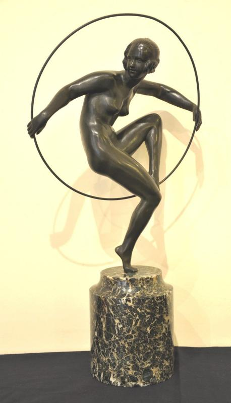 MARCEL André BOURAINE GIRL WITH HOOP SCULPTURE BRONZE ART DECO 1930, Plus d'infos...