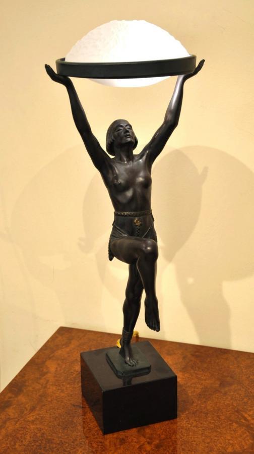 Max Le Verrier Danseuse à La Coupe Sculpture Lampe Art Déco 1930, Plus d'infos...