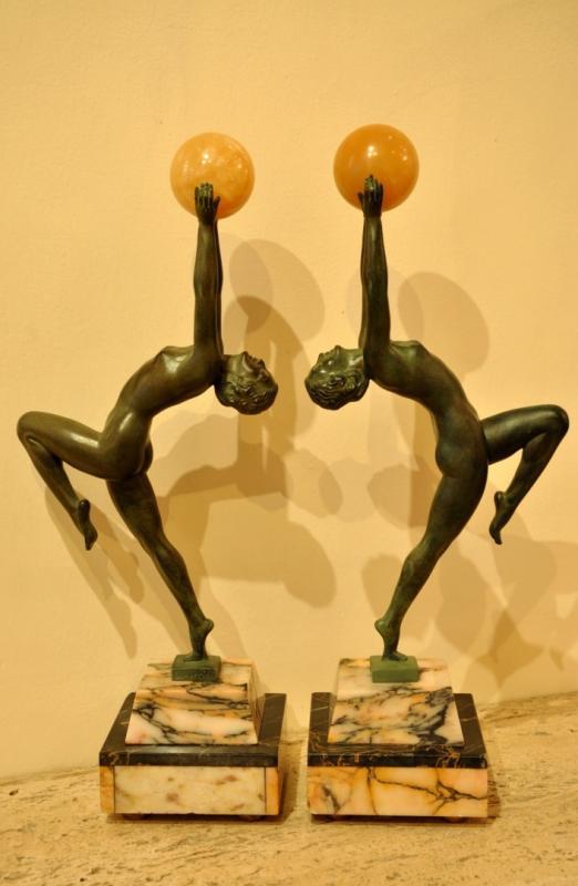 LUCIEN ALLIOT SCULPTURE BRONZE & MARBLE ART DECO 1930