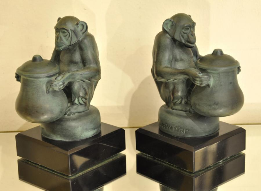 Max Le Verrier Pair Of Bookends Monkeys Art Deco 1930 , More Informations...
