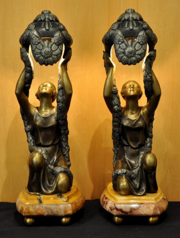 P. SEGA SCULPTURES PAIRE DE LAMPES VEILLEUSE ART DECO 1920-1925, Plus d'infos...