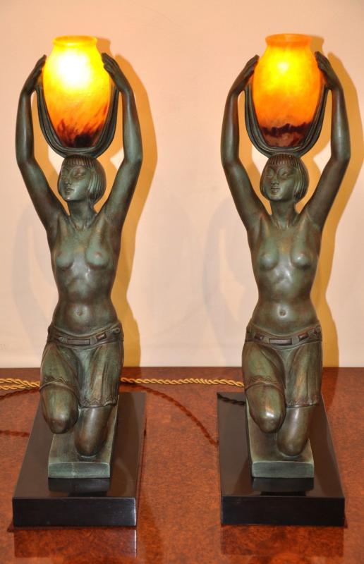 PIERRE LE FAGUAYS FAYRAL  PAIRE LAMPES SCULPTURES  VERS L'OASIS  ART DECO, Plus d'infos...