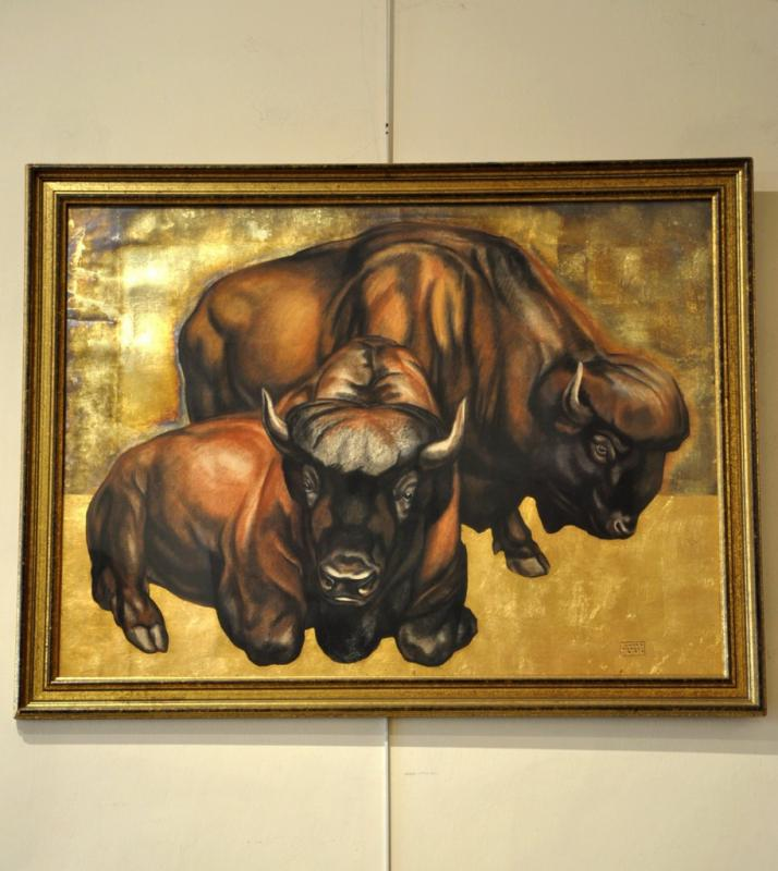André MARGAT DESSIN PASTEL FEUILLE D'OR 2 BISONS ART DECO 1933, Plus d'infos...
