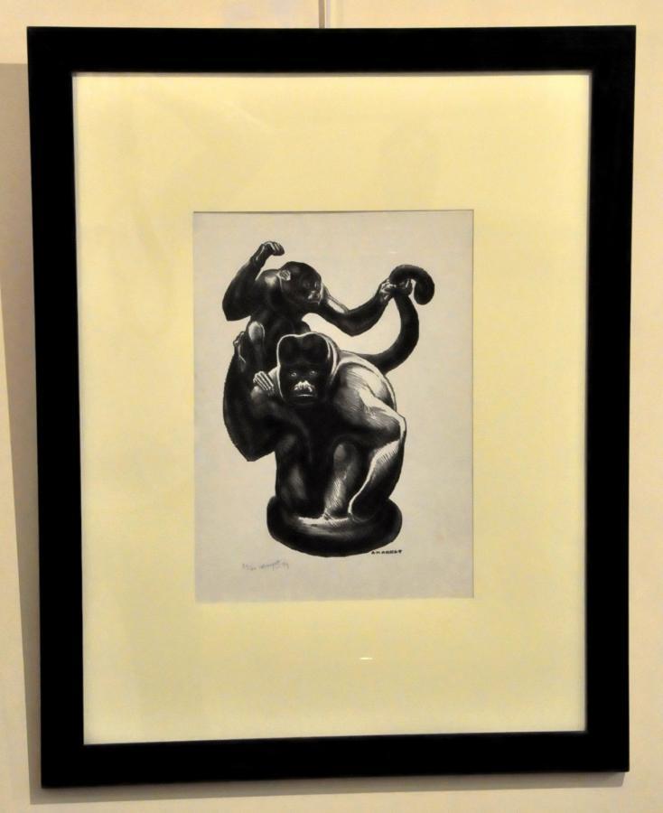 André Margat Lithographie Originale 2 Singes Sur Papier Japon 1979 , Plus d'infos...