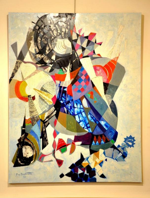 Pierre De Berroeta Huile Sur Toile 80 Figures Composition Abstraite De 1990, Plus d'infos...