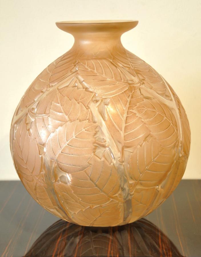 René Lalique Vase Milan Patine Sépia Art Déco 1929 , Plus d'infos...