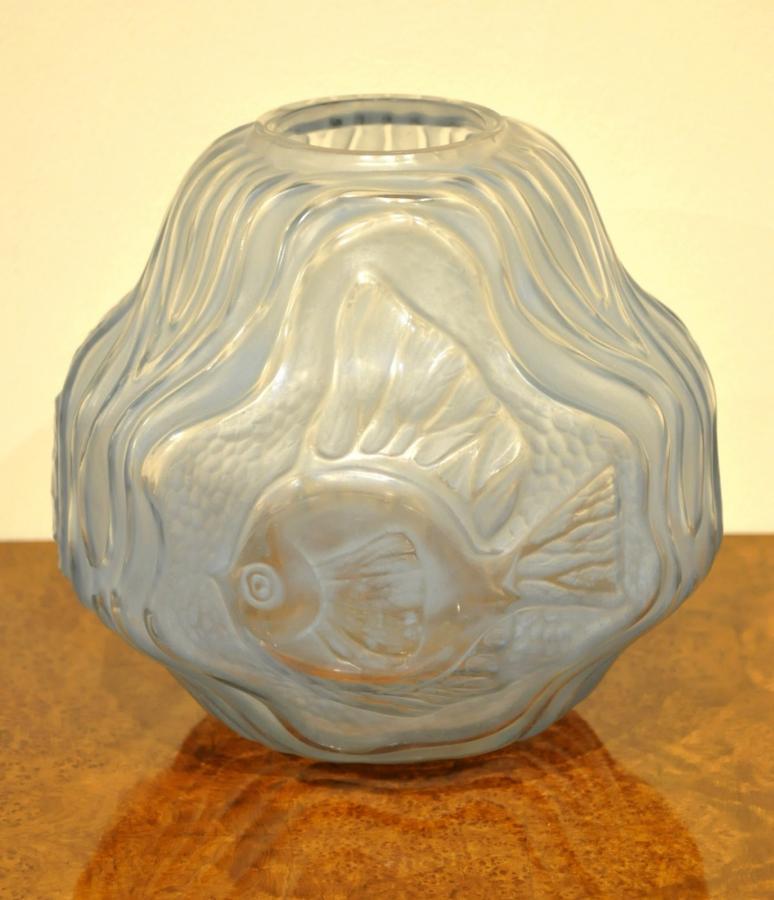 André Hunebelle Vase Poissons Patiné Bleu Art Déco 1930, Plus d'infos...