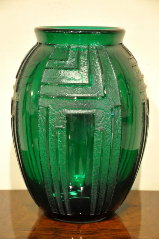 DAUM NANCY FRANCE VASE VERT EMERAUDE ART DECO 1930, Plus d'infos...