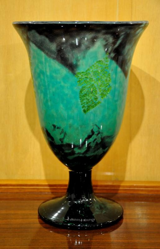 DAUM NANCY VASE VERRE EMERAUDE INCLUSIONS OR 1920-1925, Plus d'infos...