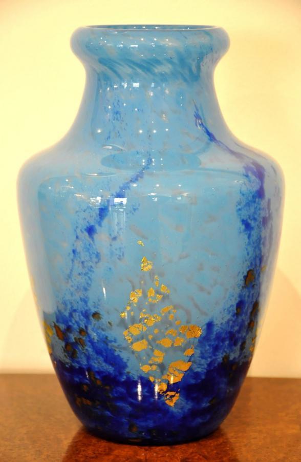 Daum Nancy Vase Verre Multicouche Bleu Inclusion Or Art Déco 1925-1930, Plus d'infos...