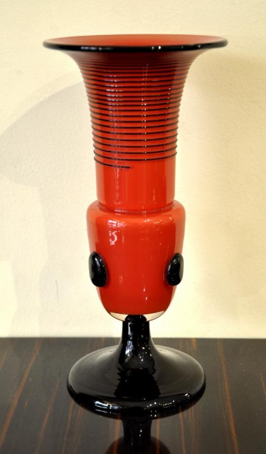Michaël Powolny & Loetz Vase Pâte De Verre Rouge Applications Noires Art Déco 1920-1925, Plus d'infos...